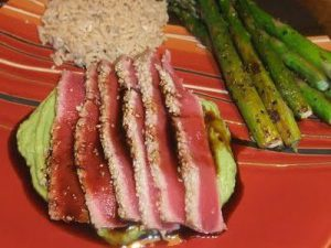 Seared Wasabi-Sesame Tuna with Avocado Cream & Maple Soy Sauce