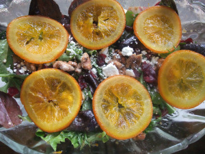 Candied Orange & Walnut Salad with Orange Balsamic Vinaigrette
