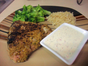 Pistachio-Crusted Tuna with Mustard-Dill Cream Sauce