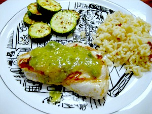 Grilled Cumin Chicken with Tomatillo Sauce