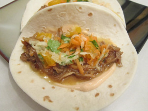 Taco Tuesday: Cuban Pulled Pork Tacos with a Guava Glaze, Orange & Jicama Slaw, and Chipotle Mayo