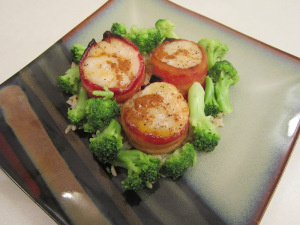 Bacon-Wrapped Scallops with Chili Butter