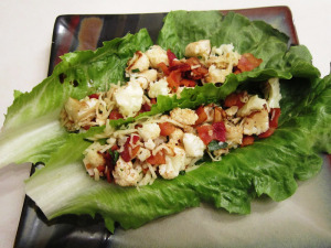 Roasted Cauliflower with Crisped Bacon Lettuce Wraps