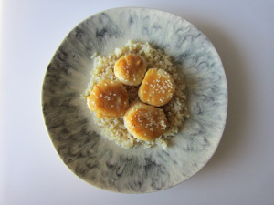 Scallops with Mustard-Miso Sauce