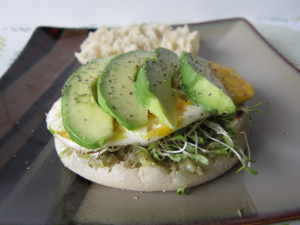 English Muffin with Avocado, Eggs, and Pesto