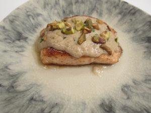 Pan-Seared Salmon with Pistachio Mint Cream Sauce
