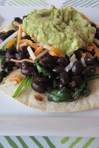 Black Bean, Spinach, and Guacamole Tostadas