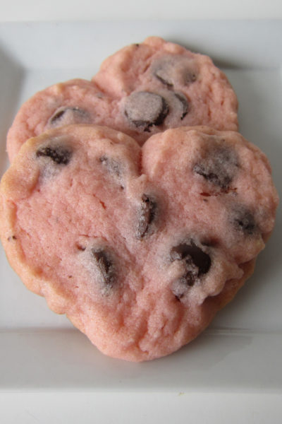 Heart-Shaped Mint Chocolate Chip Cookies