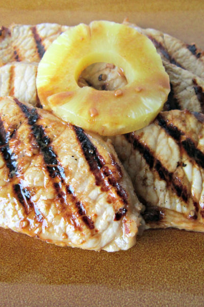 Pineapple Rum Marinated Pork Chops