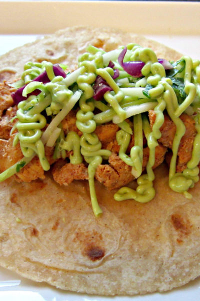 Taco Tuesday: Ancho Chicken Tacos with Cilantro Slaw and Avocado Cream