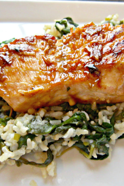 Summer Salmon over Cilantro-Lime Rice with Spinach and Kale