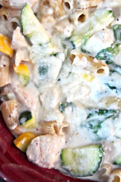Squash, Zucchini, Spinach & Chicken Pasta Bake