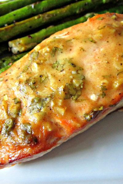 Baked Salmon with Honey Dijon & Garlic
