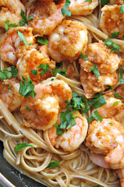 Crispy Blackened Shrimp Fettuccine