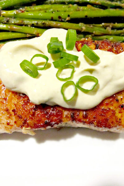 Seared Salmon with Wasabi and Lemon Cream Sauce