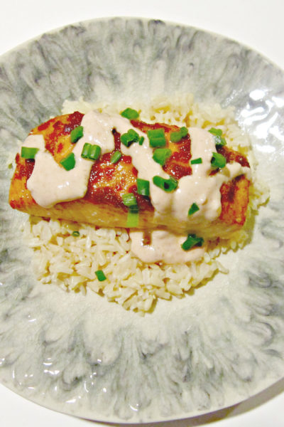 Chili Glazed Salmon with Sriracha Cream Sauce