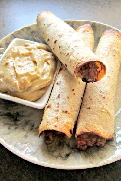Taco Tuesday: Salsa Verde Beef & Bean Taquitos with Chipotle Avocado Cream Sauce