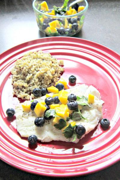 Cod with Blueberry-Mango Salsa