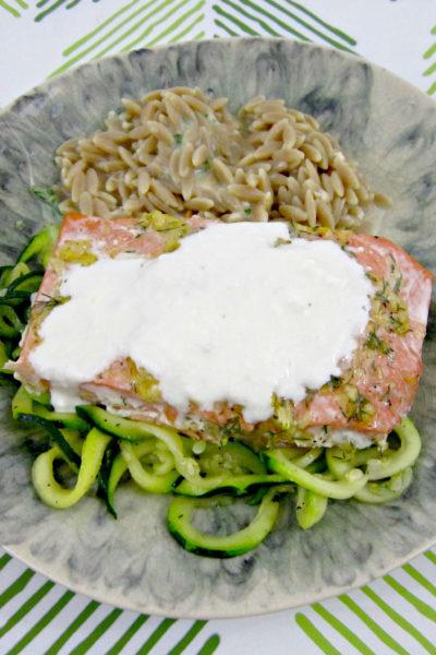 Lemon-Dill Salmon with Creamy Feta Sauce