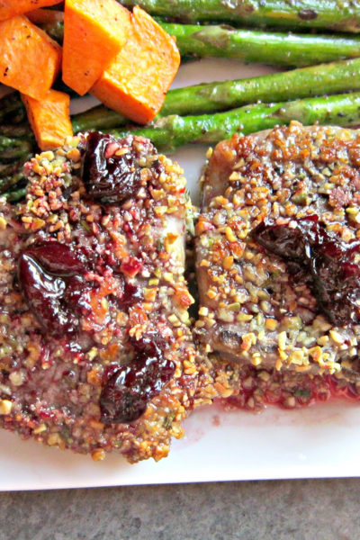 Pumpkin Seed, Garlic, & Rosemary Crusted Lamb Chops with Cherry Port Sauce