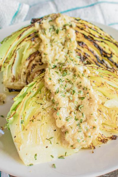 Roasted Cabbage Wedges with Dijon-Onion Sauce