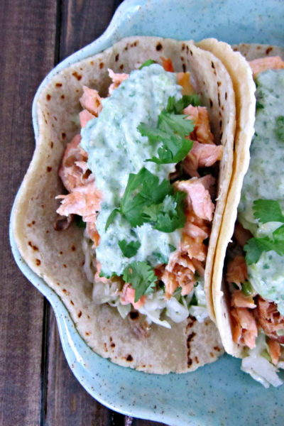 Taco Tuesday: Cheddar Jalapeno Salmon Tacos with Creamy Green Sauce and Apple Cider Slaw