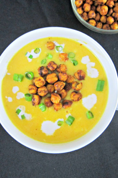 Smoked Gruyere Butternut Squash Soup with Spicy Roasted Chickpeas