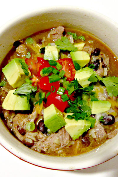Slow Cooker Pork Carnitas Burrito Bowl Soup