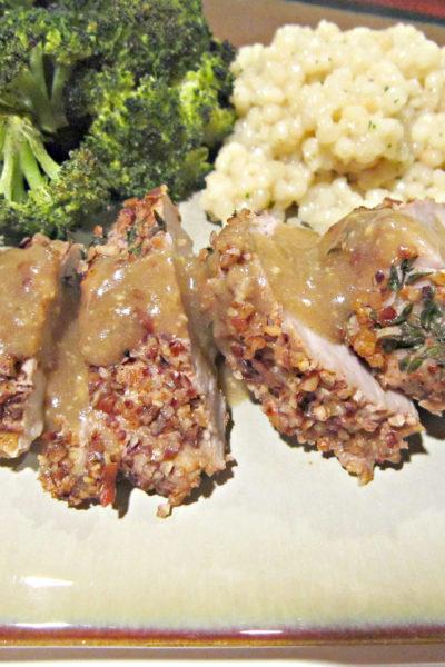 Pecan-Crusted Pork Tenderloin with Bourbon Mustard Sauce