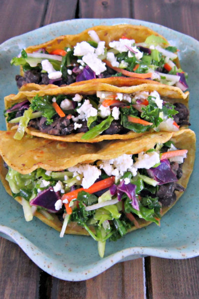 Taco Tuesday: Crispy Black Bean Tacos with Feta and Slaw