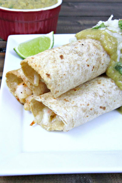 Taco Tuesday: Baked Chili Lime Shrimp Taquitos with Avocado Salsa Verde