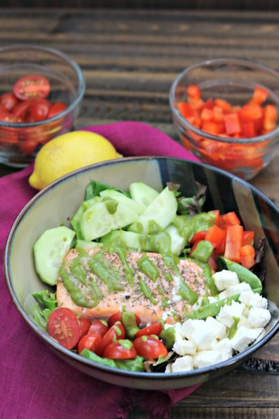Salmon Greek Salad with Lemon Basil Vinaigrette