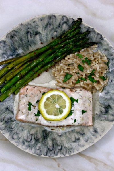 Salmon with Lemon Garlic Cream Sauce