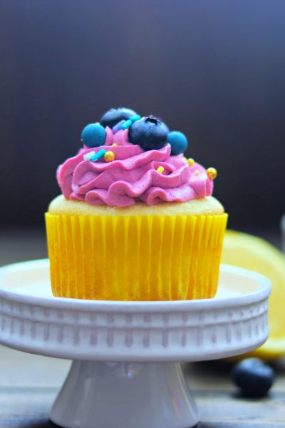 White Cupcakes with Blueberry Frosting