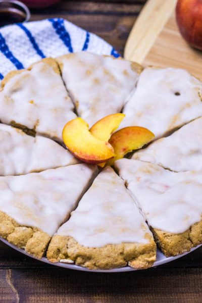 Peach Pie Scones with Maple Glaze