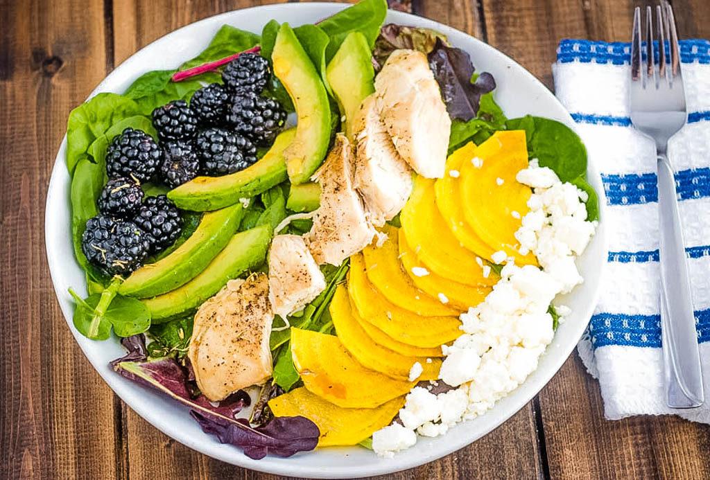 chicken salad with blackberries