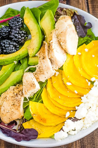 Chicken Salad with Blackberries, Golden Beets, Feta, and Avocado