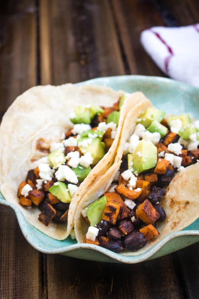 balck bean and sweet potato tacos