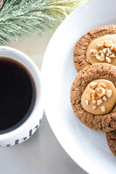 Pecan Gingerbread Thumbprint Cookies
