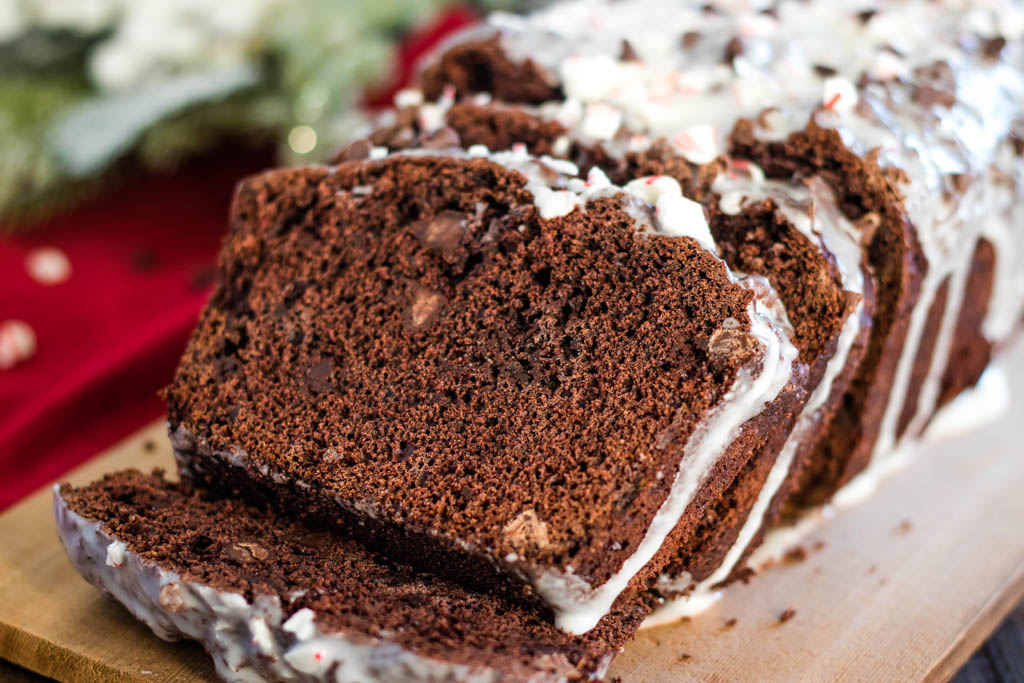 dark chocolate peppermint bread, sliced