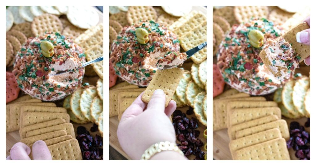 Process shots of cutting into cheese ball and spreading onto a cracker