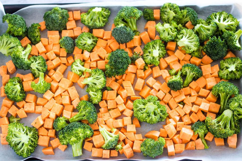 winter veggies on baking sheet