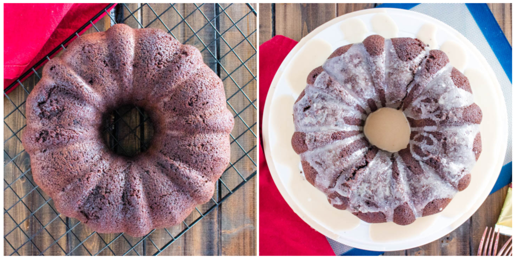 Brownie batter mocha bundt cake with and without coffee glaze