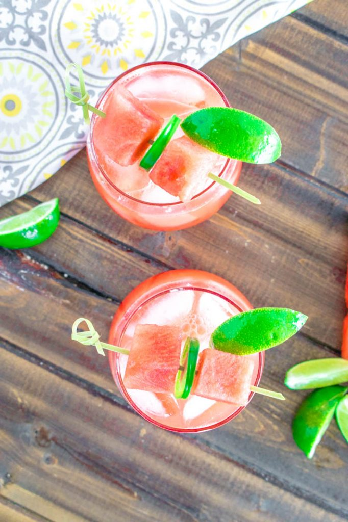 spicy jalapeno margarita with watermelon and jalapenos skewers