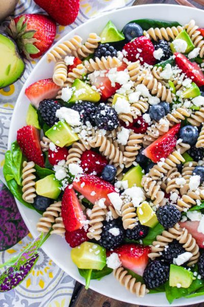 Summer Berry Spinach Pasta Salad