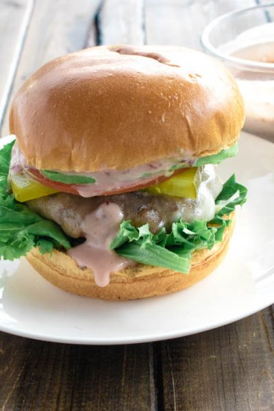 Venison Burgers with Raspberry Chipotle Ranch