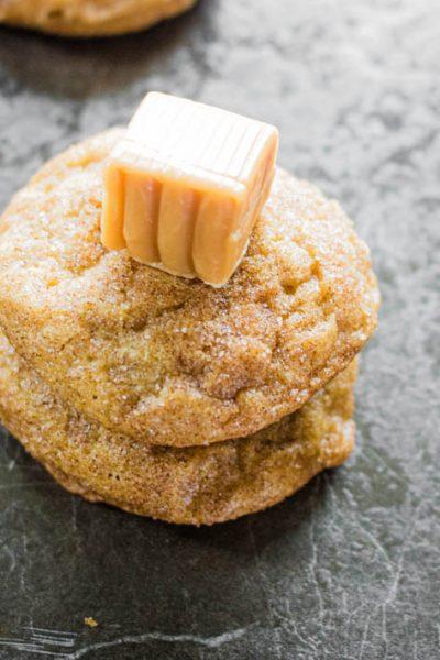 Caramel Stuffed Pumpkin Cookies