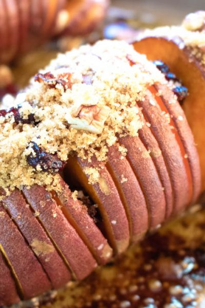 Hasselback Sweet Potatoes with Cranberries & Pecans