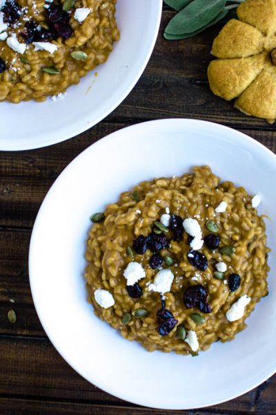 Pumpkin Risotto with Goat Cheese & Dried Cranberries #PumpkinWeek