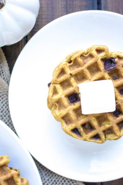 Pumpkin Waffles with Chocolate Chips